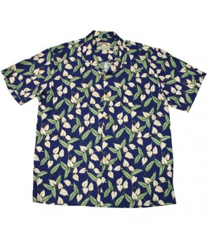 Hawaiian Rayon Aloha Shirt [ Mini Anthurium ] Navy