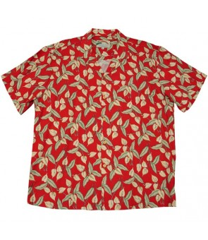 Hawaiian Rayon Aloha Shirt [ Mini Anthurium ] Red