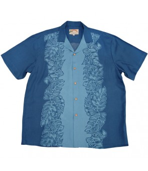 Hawaiian Rayon Aloha Shirt [ Monstera Panel ] Blue