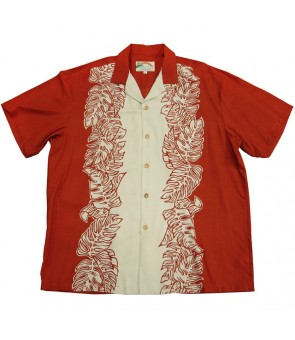 Hawaiian Rayon Aloha Shirt [ Monstera Panel ] Red