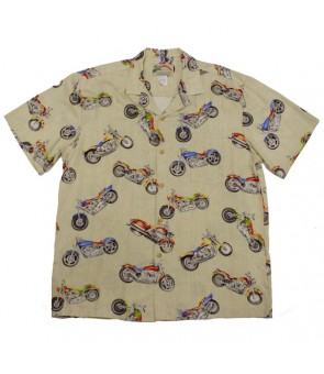 Hawaiian Rayon Aloha Shirt [ Motorcycle ] Cream