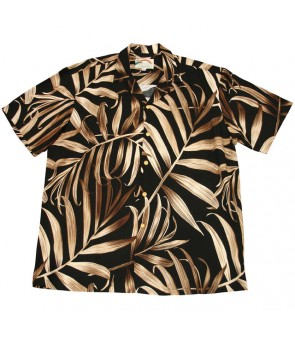 Hawaiian Rayon Aloha Shirt [ Palm Fronds ] Black