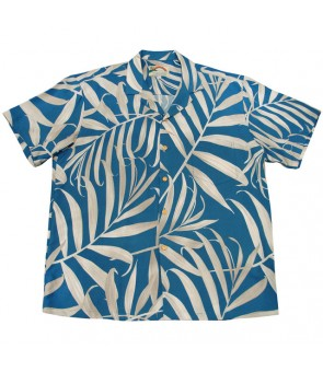 Hawaiian Rayon Aloha Shirt [ Palm Fronds ] Blue