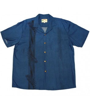 Hawaiian Rayon Aloha Shirt [ Palm Shadow ] Navy