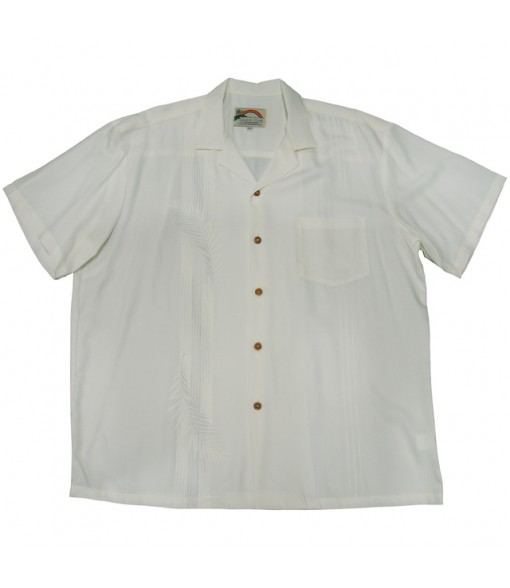 Hawaiian Rayon Aloha Shirt [ Palm Shadow ] White