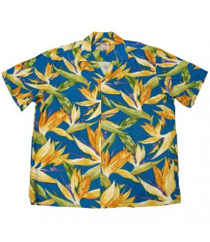 Hawaiian Rayon Aloha Shirt [ Watercolor BOP ] Blue