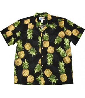 Hawaiian Cotton Aloha Shirt [ Maui Pineapple ] Black
