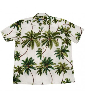 Hawaiian Cotton Aloha Shirt [ Wailea Palms ] White