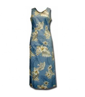 Hawaiian Cotton Long Tank Dress [ Fern Hibiscus ] Blue