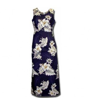 Hawaiian Cotton Long Tank Dress [ Fern Hibiscus ] Navy
