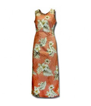 Hawaiian Cotton Long Tank Dress [ Fern Hibiscus ] Peach