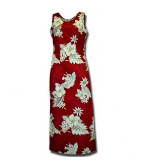 Hawaiian Cotton Long Tank Dress [ Fern Hibiscus ] Red