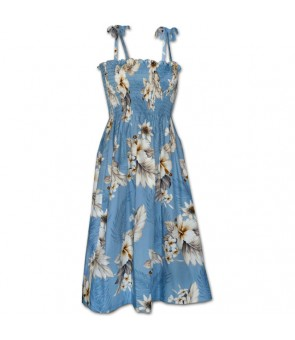 Hawaiian Cotton Tube Top Mid-Length Dress [ Fern Hibiscus ] Blue