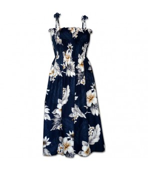 Hawaiian Cotton Tube Top Mid-Length Dress [ Fern Hibiscus ] Navy