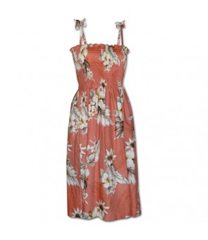 Hawaiian Cotton Tube Top Mid-Length Dress [ Fern Hibiscus ] Peach