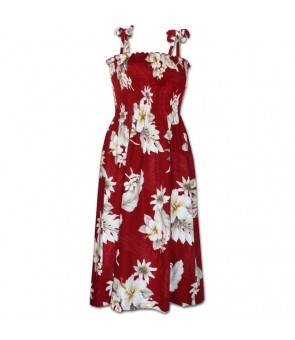 Hawaiian Cotton Tube Top Mid-Length Dress [ Fern Hibiscus ] Red