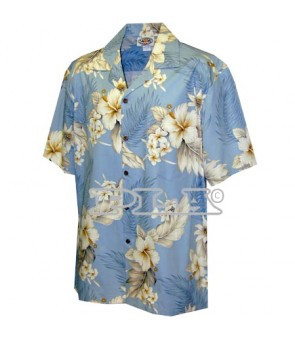 Hawaiian Cotton Aloha Shirt [ Fern Hibiscus ] Blue
