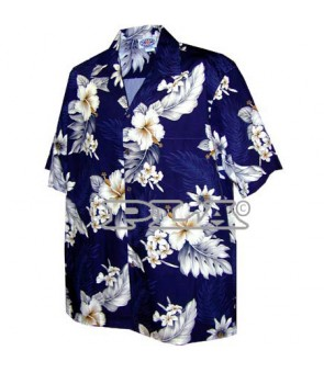Hawaiian Cotton Aloha Shirt [ Fern Hibiscus ] Navy