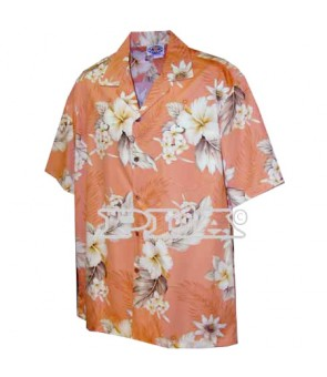 Hawaiian Cotton Aloha Shirt [ Fern Hibiscus ] Peach