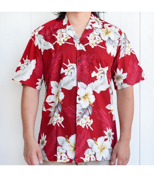 Hawaiian Cotton Aloha Shirt [ Fern Hibiscus ] Red