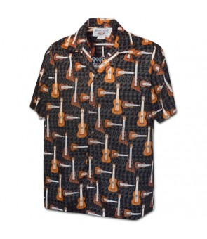 Hawaiian Cotton Aloha Shirt [ Ukupiku Guitar ] Black