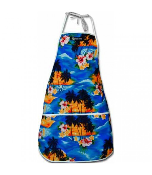 Hawaiian Print Kitchen Apron [ Hawaii Beach ] Blue