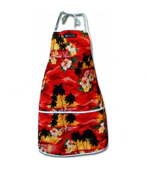 Hawaiian Print Kitchen Apron [ Hawaii Beach ] Red