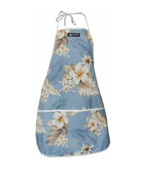 Hawaiian Print Kitchen Apron [ Fern Hibiscus ] Blue