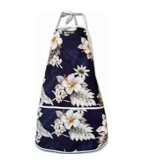 Hawaiian Print Kitchen Apron [ Fern Hibiscus ] Navy