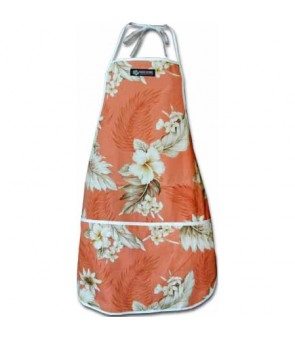 Hawaiian Print Kitchen Apron [ Fern Hibiscus ] Peach