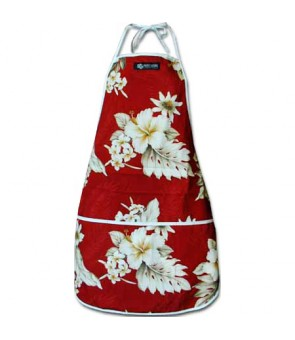 Hawaiian Print Kitchen Apron [ Fern Hibiscus ] Red
