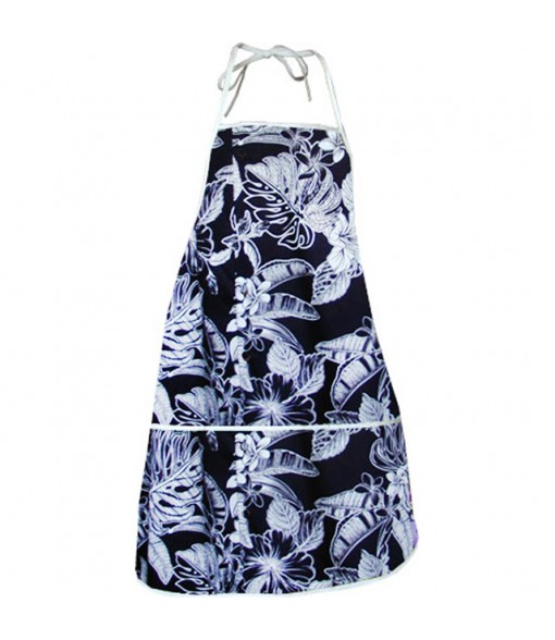 Hawaiian Print Kitchen Apron [ Monstera Leaf Plumeria ] Black