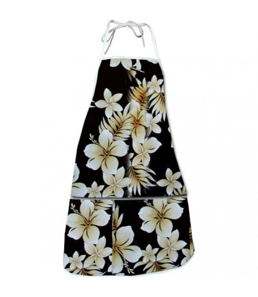 Hawaiian Print Kitchen Apron [ Pau Hibiscus ] Black