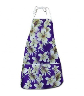 Hawaiian Print Kitchen Apron [ Pau Hibiscus ] Purple