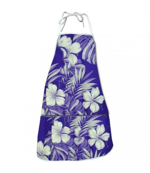 Hawaiian Print Kitchen Apron [ Hibiscus / Nui ] Purple