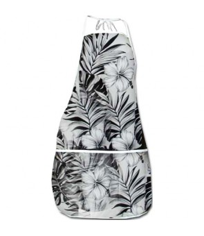 Hawaiian Print Kitchen Apron [ Hibiscus / Nui ] White