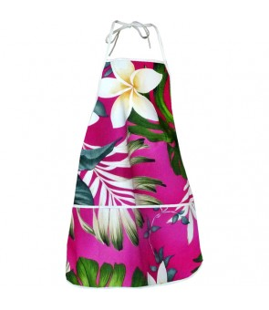 Hawaiian Print Kitchen Apron [ Monstera Fern ] Pink