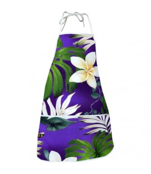 Hawaiian Print Kitchen Apron [ Monstera Fern ] Purple