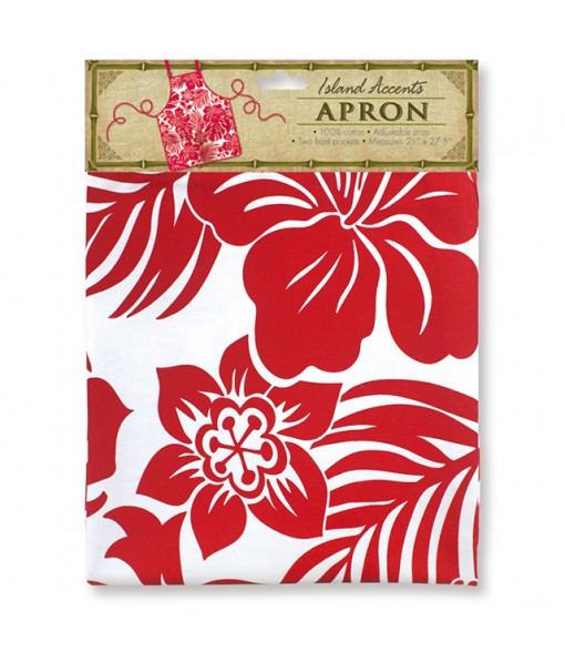 Hawaiian Print Kitchen Apron [ Hibiscus Floral ] Red
