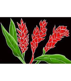 Tahitian Pareo [ Torch Ginger ] Black & Red