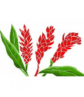 Tahitian Pareo [ Torch Ginger ] White & Red