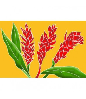Tahitian Pareo [ Torch Ginger ] Gold & Red
