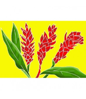 Tahitian Pareo [ Torch Ginger ] Yellow & Red