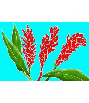 Tahitian Pareo [ Torch Ginger ] Turquoise & Red