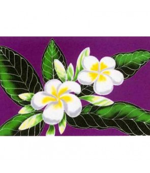 Tahitian Pareo [ White Plumeria ] Purple