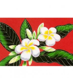 Tahitian Pareo [ White Plumeria ] Red