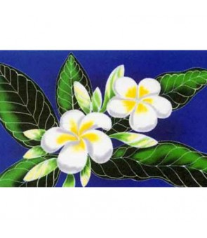 Tahitian Pareo [ White Plumeria ] Royal Blue
