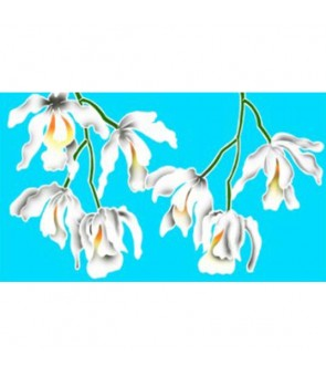 Tahitian Pareo [ White Orchid ] Light Blue