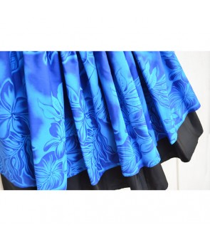 Hawaiian Double Pa'u Skirt [ Plumeria ] Blue