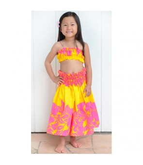 Hawaiian Order-Made Keiki Pa'u Skirt ETU-436 [ Hibiscus Panel ] Pink & Yellow
